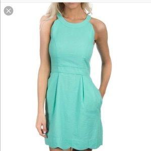 Seersucker Seafoam Green Scallop Dress